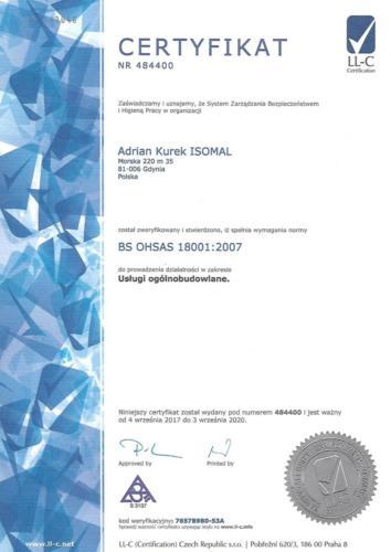 Certyfikat OHSAS - wersja polska