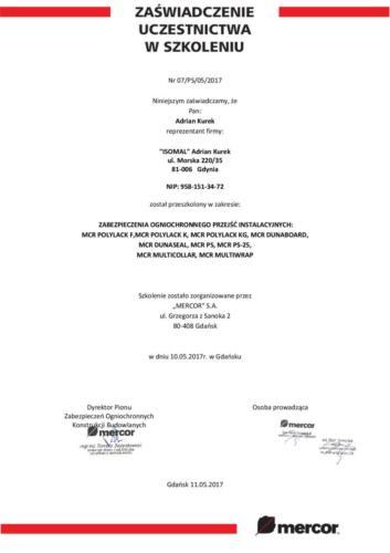 Zaświadczenie ze szkolenia z zabezpieczania przejść instalacyjnych systemami Mercor