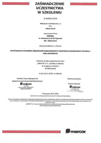 01. Mercor Certyfikat Szkolenia ISOMAL Tecwool